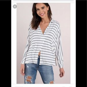 Free People Can't Fool Me Tee Blue/White Striped